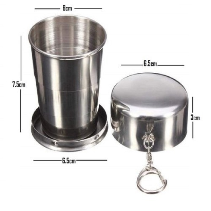 Steel Folding Glass Travel Camping Water Mug Cup Glass