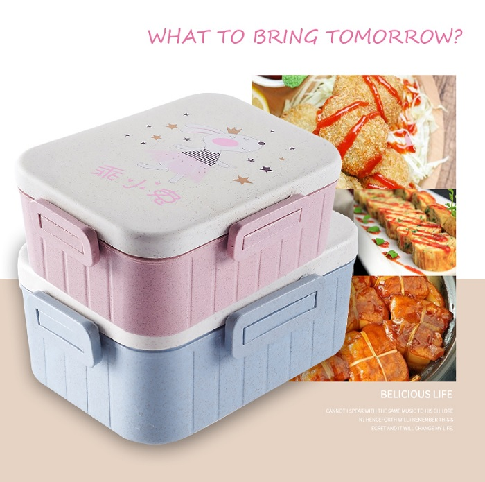 Wheat Straw Cartoon Pattern Double Box Lunch Box Bento Box