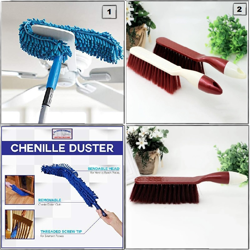 Home Utility Combo - 6 (Fan Duster & Plastic Handle Dust Remover Brush)