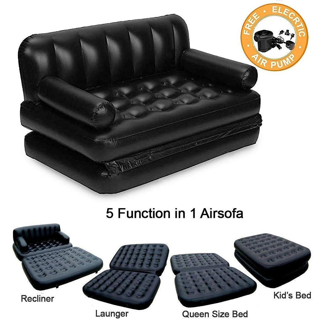 5 in 1 Inflatable Sofa Air Bed Couch with Electric Pump (Black)