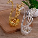 6 Pcs Spoon with Decorative Swan Stand - Silver