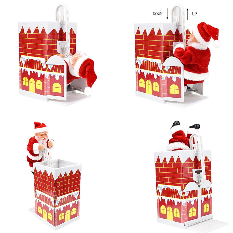 Christmas Gift Electric Santa Claus Toy Climb Wall Chimney Music Dancing Doll Toy