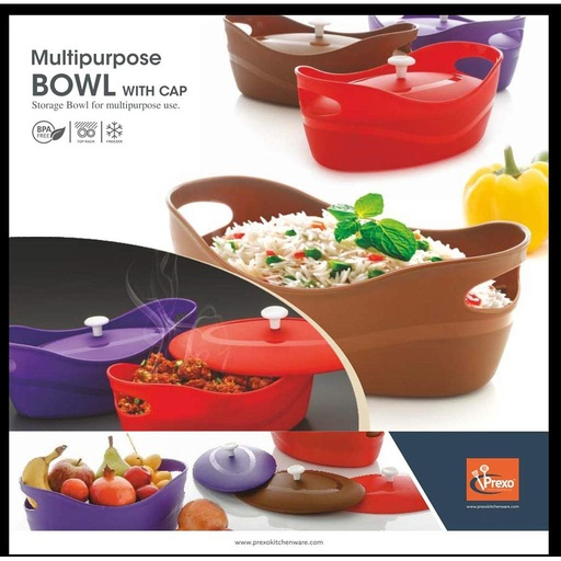 [HL1077] Microwave Safe Unbreakable Plastic Multipurpose Bowl with Cap for Serving (Random)