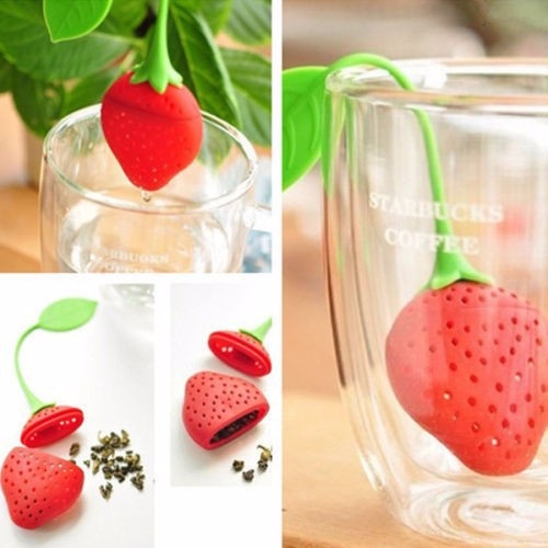 [HL0660] Strawberry Shape Silicone Herbal Green Tea Filter Strainer